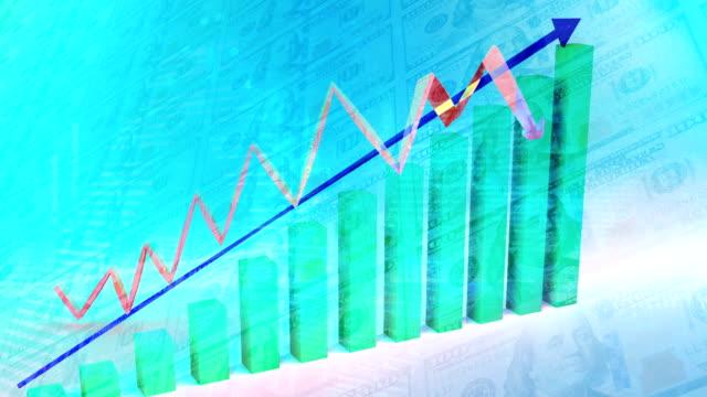 vidéos et rushes de tableau financier ascendant, dolar bill overlay - engagement des clients