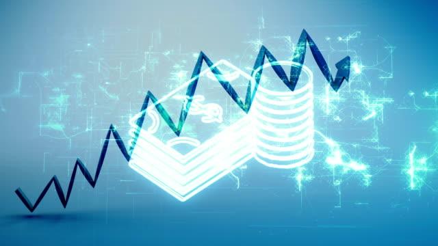 vidéos et rushes de tableau financier ascendant, concept d'épargne - engagement des clients