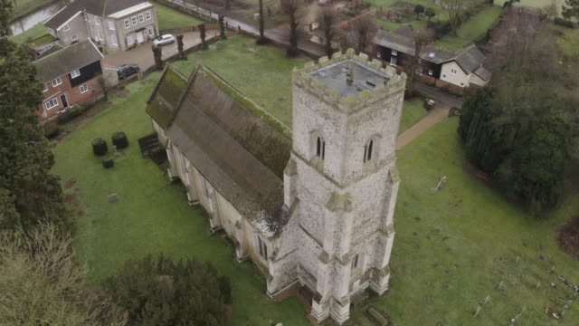 ascending shot of the church of st mary in troston - veranda stock videos & royalty-free footage