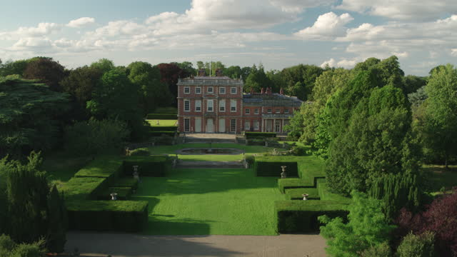 ascending shot of the front of newby hall - pond stock videos & royalty-free footage