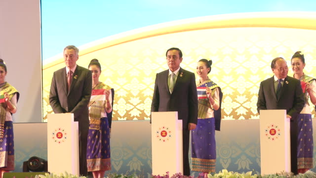 asean leaders attend the opening ceremonies at the association of southeast asian nations summit the laotian capital vientiane. - association of southeast asian nations stock videos & royalty-free footage
