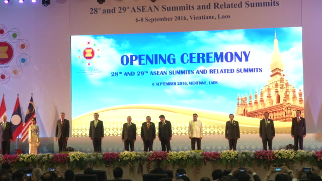 asean leaders attend the opening ceremonies at the association of southeast asian nations summit the laotian capital vientiane - association of southeast asian nations stock videos & royalty-free footage
