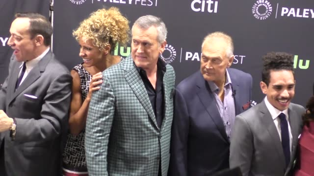 ash vs evil dead cast at the ash vs evil dead paley fest 2016 fall tv preview at paley center in beverly hills in celebrity sightings in los angeles, - bruce campbell stock videos & royalty-free footage