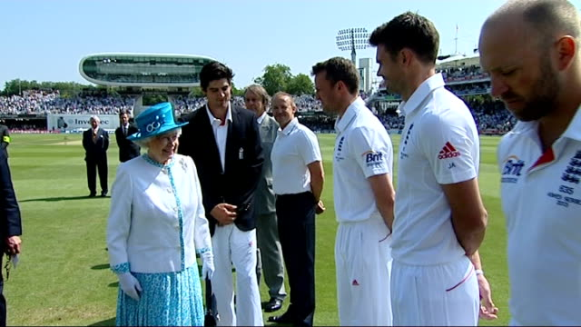 queen meets cricket teams at lord's england london lord's ext alastair cook introducing queen elizabeth ii to members of england cricket team... - cricket team stock videos and b-roll footage