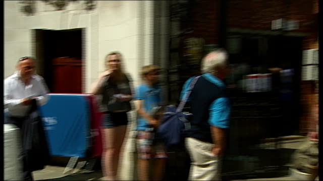 second test day one england london lords cricket ground ext various of cricket fans arriving at lord's entrance vox pops australia fans and england... - lords cricket ground stock videos and b-roll footage