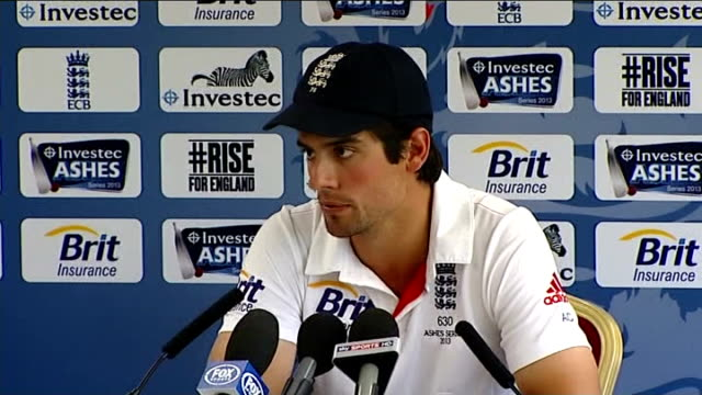 Third test ends in a draw Captains' press conferences ENGLAND Greater Manchester Old Trafford INT Alastair Cook press conference on the test match SOT