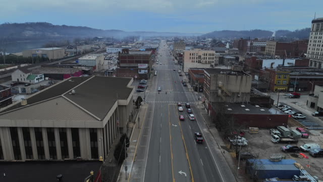 ashland, kentucky, usa. aerial drone video with the forward camera motion. - small town stock videos & royalty-free footage