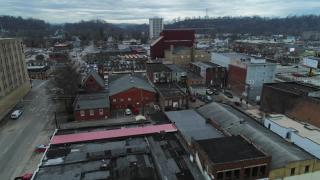 ashland, kentucky, usa. aerial drone video with the forward camera motion. - virginia us state stock videos & royalty-free footage