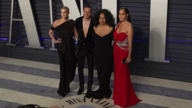 Ashlee Simpson Evan Ross Diana Ross and Tracee Ellis Ross at 2019 Vanity Fair Oscar Party Hosted By Radhika Jones at Wallis Annenberg Center for the...
