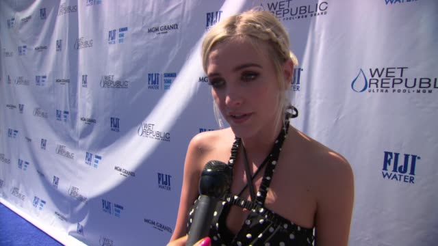 Ashlee Simpson on working on her new record at Ashlee Simpson Hosts FIJI Water Summer Soak Las Vegas on 9/8/2012 in Las Vegas NV