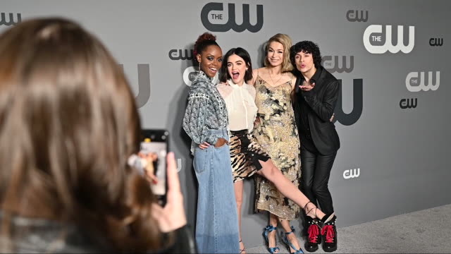 Ashleigh Murray Lucy Hale Julia Chan Jonny Beauchamp at the 2019 CW Network Upfront at New York City Center on May 16 2019 in New York City