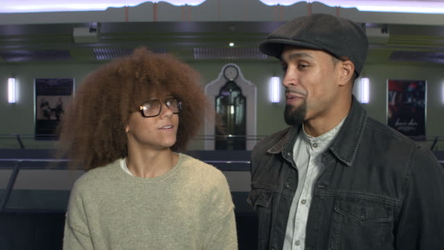 vídeos de stock, filmes e b-roll de interview ashley banjo perri kiely on the 3rd performance at royal variety coming back to where is all started hammersmith apollo 'dance dance dance'... - variety