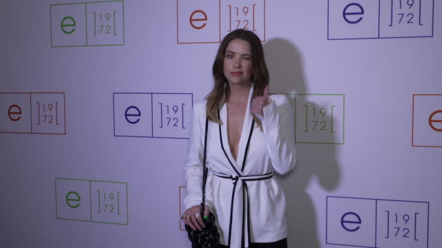 ashley benson on the vibe for this show, on what she is wearing, her fashion week schedule and her working projects, on having a girl's night... - week video stock e b–roll