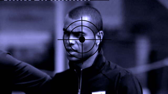 ashley cole air rifle incident r081106 location unknown ashley cole at england football training session with crosshairs of gun target superimposed - fadenkreuz stock-videos und b-roll-filmmaterial