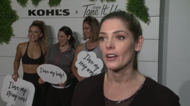 interview ashley greene on the event at behindthescenes at kohl's x studio tone it up workout event at barker hangar in santa monica ca january 13... - kohls stock videos & royalty-free footage