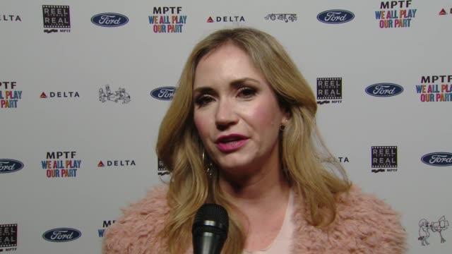 interview ashley jones on what the mptf does to give back at the 7th annual reel stories real lives event benefiting mptf at directors guild of... - director's guild of america stock videos & royalty-free footage