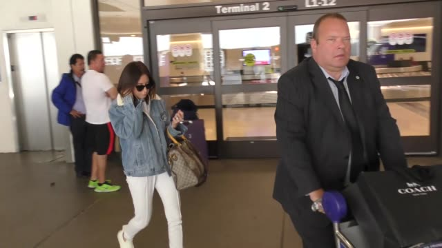 ashley tisdale at los angeles international airport at celebrity sightings in los angeles on november 17 2017 in los angeles california - ashley tisdale stock videos and b-roll footage