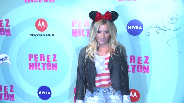 ashley tisdale at perez hilton's mad hatter tea party birthday celebration on 3/24/2012 in los angeles ca - mad hatter stock videos and b-roll footage