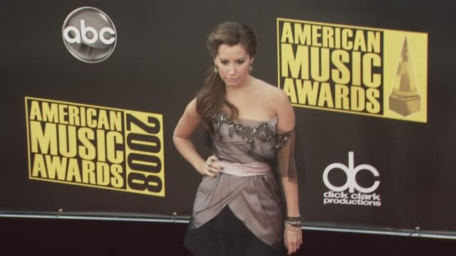 ashley tisdale at the 2008 american music awards at los angeles ca - ashley tisdale stock videos and b-roll footage