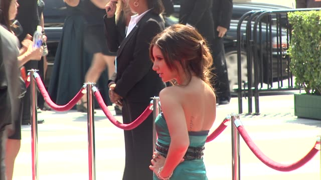 ashley tisdale at the 2009 primetime creative arts emmy awards at los angeles ca - ashley tisdale stock videos and b-roll footage