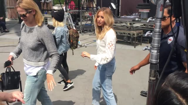 ashley tisdale greets fans after filming extra at universal citywalk in hollywood in celebrity sightings in los angeles - ashley tisdale stock videos and b-roll footage