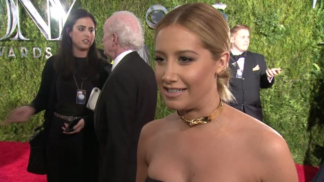 interview ashley tisdale on presenting her best friend with an award at 2015 tony awards arrivals at radio city music hall on june 07 2015 in new... - ashley tisdale stock videos and b-roll footage
