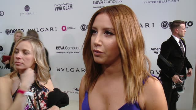 INTERVIEW Ashley Tisdale on the event at 25th Annual Elton John AIDS Foundation's Academy Awards Viewing Party in Los Angeles CA