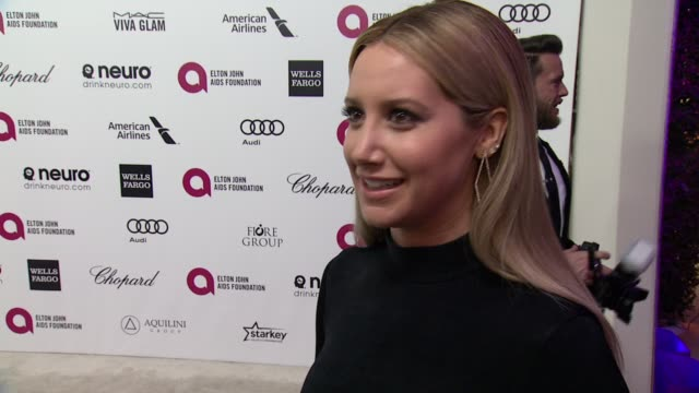 ashley tisdale what brings her out, talks about elton's commitment to the ejaf and her thoughts on the oscar ceremony at 23rd annual elton john aids... - oscar party stock videos & royalty-free footage
