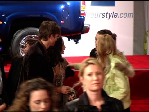 ashton kutcher and demi moore at the 4th annual 'ten' fashion show presented by general motors arrivals and interviews at pavilion in... - ashton kutcher stock videos and b-roll footage