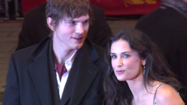 ashton kutcher and demi moore at the 59th berlin film festival: happy tears red carpet premiere at berlin . - ashton kutcher stock videos & royalty-free footage