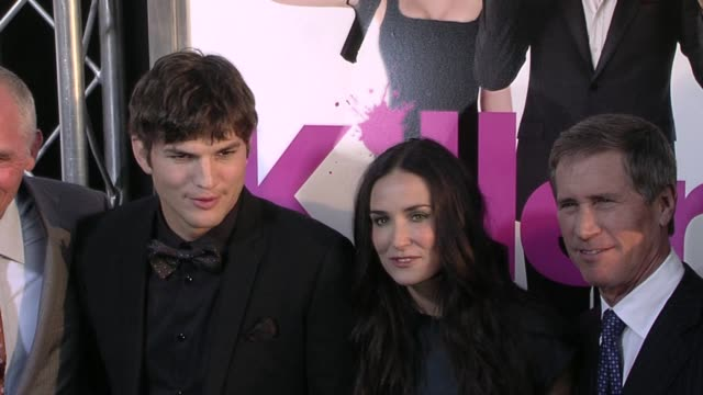 ashton kutcher and demi moore at the 'killers' premiere at hollywood ca - ashton kutcher stock videos and b-roll footage