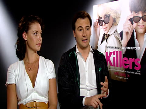 ashton kutcher and katherine heigl, on wanting to experiment with comedy and action. at the killers interview at london england. - ashton kutcher stock videos & royalty-free footage