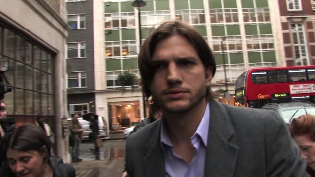 ashton kutcher arrives at bbc radio one. sighted: ashton kutcher at bbc radio studios on february 10, 2011 in london, england - ashton kutcher stock videos & royalty-free footage
