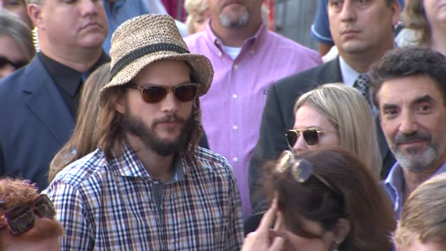 ashton kutcher at the jon cryer honored with star on the hollywood walk of fame at hollywood ca - ashton kutcher stock videos and b-roll footage