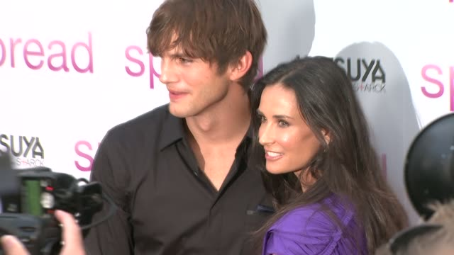 ashton kutcher, demi moore at the 'spread' premiere at hollywood ca. - demi moore stock videos & royalty-free footage
