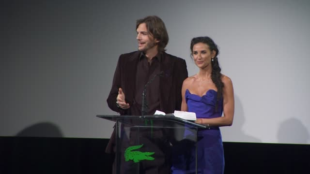 ashton kutcher, demi moore presenting to julie weiss at the 13th annual costume designers guild awards at beverly hills ca. - ashton kutcher stock videos & royalty-free footage