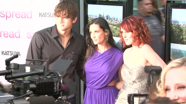 ashton kutcher, demi moore, rumer willis at the 'spread' premiere at hollywood ca. - ashton kutcher stock videos & royalty-free footage