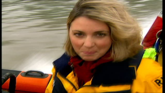 ashton kutcher interview promoting 'the guardian' reporter to camera as along on rescue boat - ashton kutcher stock videos and b-roll footage