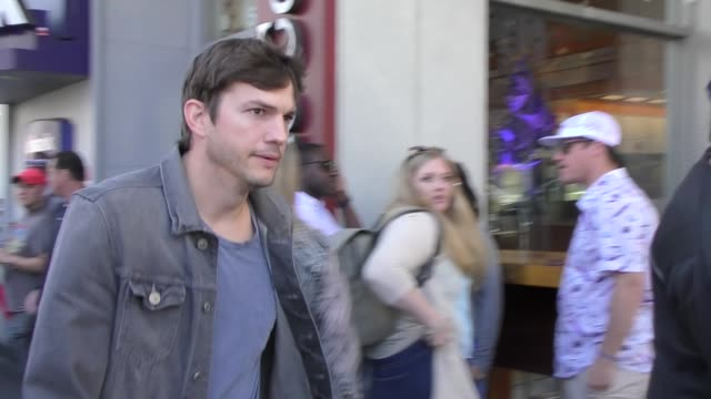 ashton kutcher leaves zoe saldana's star ceremony on the hollywood walk of fame in hollywood in celebrity sightings in los angeles, - ashton kutcher stock videos & royalty-free footage