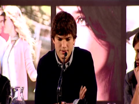ashton kutcher on his favourite love story being philadelphia at the valentine's day press conference at london england. - ashton kutcher stock videos & royalty-free footage