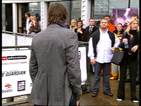 ashton kutcher photocall & interview / promotional stunts in the river thames; kutcher standing for photocall on banks of river thames - ashton kutcher stock videos & royalty-free footage