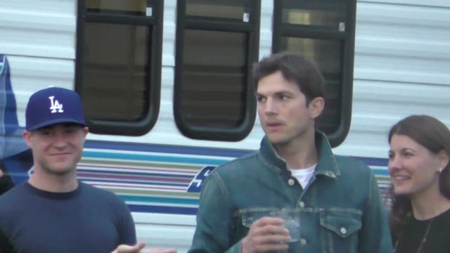 ashton kutcher & rita wilson before jimmy kimmel live appearance in hollywood in celebrity sightings in los angeles, - ashton kutcher stock videos & royalty-free footage