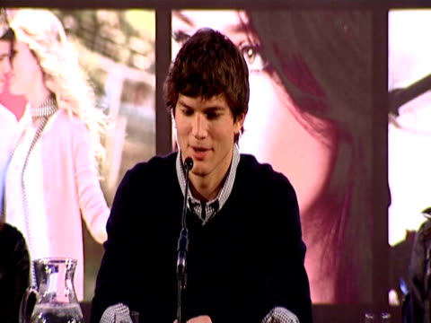 ashton kutcher talks about romance in tel aviv, on the most romantic thing he has ever done he says he doesn't keep track and that these things... - ashton kutcher stock videos & royalty-free footage
