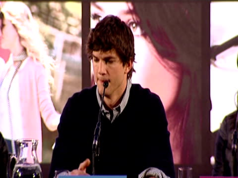 ashton kutcher talks about the existence and reality of love in our world. on his connection with the character in the script, on world peace poll,... - ashton kutcher stock videos & royalty-free footage