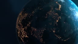 Asia At Night - Planet Earth Seen From Space