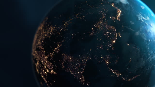 asia at night - planet earth seen from space - global finance stock videos & royalty-free footage