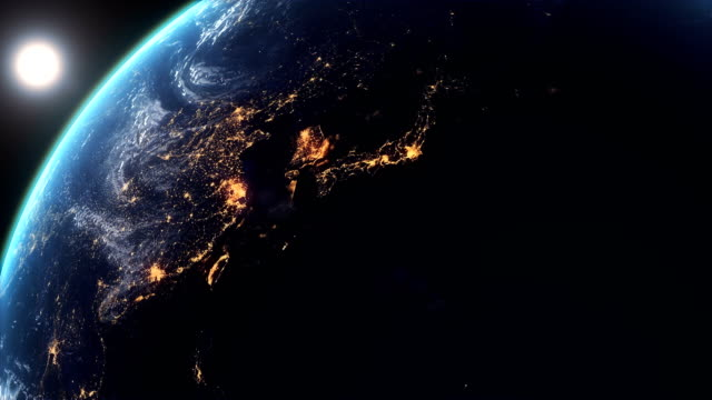 Asia city lights from the Space and Sunrise