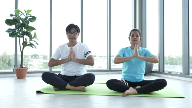 asia couple senior woman yoga - 65 69 years stock videos & royalty-free footage