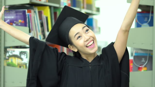 Asia Graduation woman of successful students at university