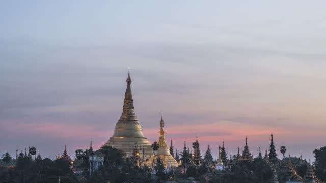 Asia, Myanmar, Yangon, elevated view of Shwedagon Pagoda at dawn